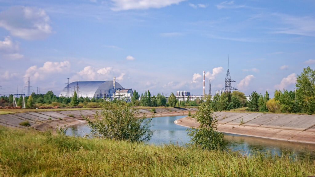 Chernobyl Power Plant seen in distance