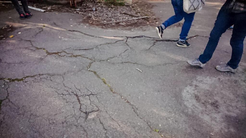 Pripyat cracked roads